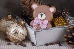 Пряник имбиря в форме плюшевого медвежонка и рождества t Стоковое фото RF