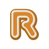 Пряник письма r Шрифт мед-торта пипермента Alphab печений Стоковые Фото
