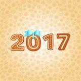 Пряник 2017 с голубым смычком Стоковая Фотография