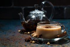 Пряное masala чая на темной предпосылке, горизонтальной Стоковые Изображения RF