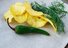 Пряные картофельные чипсы с перцем и укропом, местом для вашего текста стоковое изображение rf