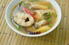 Пряные кипеть рыбы головы змейки и гриб соломы в супе Tom yum на шаре Стоковое Изображение