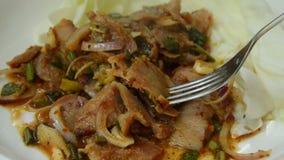 Пряный зажаренные салат и вилка свинины тайские коля для еды видеоматериал