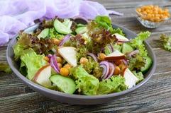 Пряный здоровый салат свежих зеленых цветов, красный лук, нуты, копченый сыр Стоковая Фотография
