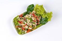 Пряный и кислый смешанный салат травы с крабом Стоковые Фотографии RF