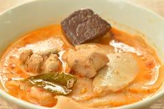 Пряный кипеть всход замаринованный куском бамбуковый с цыпленком и кровь в супе карри молока кокоса на шаре стоковые изображения