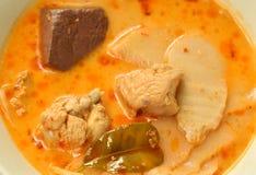 Пряный кипеть всход замаринованный куском бамбуковый с цыпленком и кровь в супе карри молока кокоса на шаре стоковая фотография rf