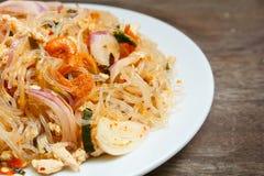 Пряный салат лапши или пряный салат вермишели стоковые фотографии rf