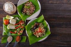 Пряный салат папапайи с посоленным крабом, космосом экземпляра Somtam Стоковое Фото