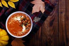 Пряный суп тыквы Стоковые Фотографии RF