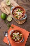 Пряный суп Tortilla цыпленка Стоковое Изображение