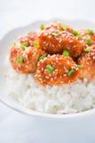 Пряный сладостный и кислый цыпленок с поднимающим вверх сезама и риса близкое Стоковое Изображение