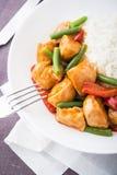 Пряный цыпленок с фасолями овощей зелеными и красным перцем и рисом Стоковое фото RF