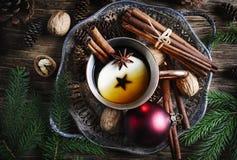 Пряный чай яблока Состав концепции зимнего отдыха стоковая фотография