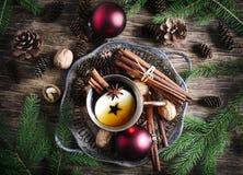 Пряный чай яблока Состав концепции зимнего отдыха стоковые изображения