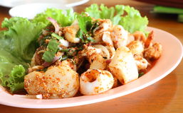 Пряный ый салат продуктов моря Стоковое Фото