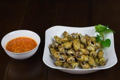 Пряный clam пара на блюде азиатская еда Стоковая Фотография