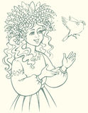 пряча вектор змейки изображения лабиринта hunt Девушка в венке смотря птицу Стоковые Фотографии RF