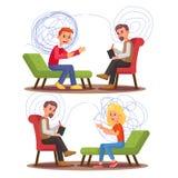 Психиатрия, набор иллюстрации вектора консультации специалиста психологии иллюстрация вектора