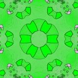 Психоделический цветок зеленого цвета Doodle мандалы хны Стоковая Фотография RF