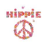 Психоделическая литерность hippie и символ мира с красочными абстрактными цветками, символ мира, глаза и пластинчатый гриб мухы И иллюстрация штока