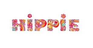 Психоделическая литерность hippie с красочными абстрактными цветками, символом мира, глазами и пластинчатым грибом мухы белизна и Стоковое Изображение