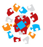 Психология головоломки головная символизируя Стоковые Фото