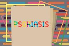 Псориаз показа знака текста Состояние кожи схематического фото общее которое быстро проходит вверх по жизненному циклу клеток эпи бесплатная иллюстрация