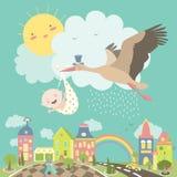 Птица аиста с младенцем Стоковая Фотография RF