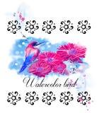 Птица акварели с цветками Стоковое фото RF