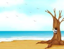 Птица внутри полости дерева на seashore иллюстрация вектора
