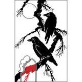 Птица воронов на ветви дерева - черном силуэте вектора на белизне Стоковое Изображение