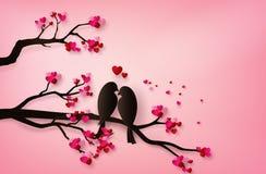 Птица в стиле искусства бумаги любов иллюстрация штока