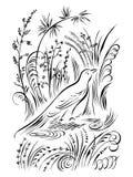 Птица в траве Заводы элементов каллиграфии завихряясь Стоковые Фотографии RF