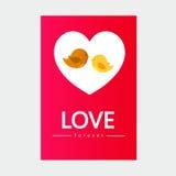 Птица влюбленности вектора и карточка валентинки Стоковое Изображение