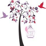 Птица влюбленности объявления дерева влюбленности Стоковые Фотографии RF