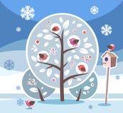 птица, зима Иллюстрация штока