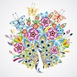 Птица и бабочки Стоковое Фото