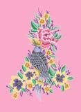 Птица и вышивка цветков пионов Стоковые Изображения RF