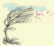 Птица и дерево влюбленности Стоковое Изображение