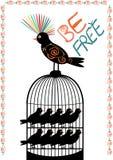 Птица и клетка - свободно- вектор Стоковые Изображения