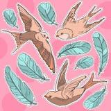 Птица и перо заплаты стикера моды иллюстрация штока