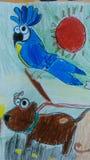 Птица и собака Стоковая Фотография RF