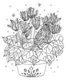 Птица и цветки крася страницу Атлантическая канерейка иллюстрация вектора