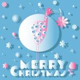 Птица и цветки, рождественская открытка Стоковые Фото