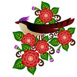 Птица и цветки Стоковая Фотография