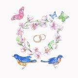 Птица, кольца, вишня, яблоко, цветки, бабочка Объект изолированный акварелью Стоковое фото RF