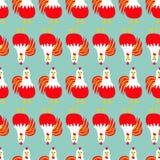 Птица крана петуха Безшовная линия картины Календарь 2017 счастливый китайцев символа Нового Года Стоковые Фото