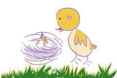 птица младенцев ее мать Стоковое Изображение
