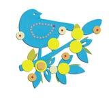 Птица на ветви и листья для объявляют рождение мальчика Стоковые Фотографии RF
